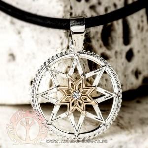 Алатырь щит из серебра, золота и с самоцветом