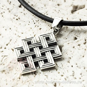 Амулет Тибетский узел из серебра